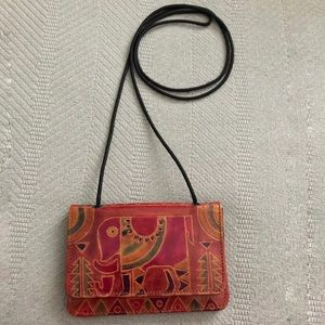 Handmade leather crossbody with elephant designs